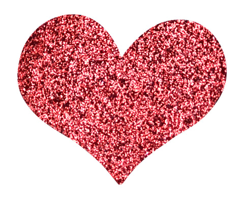 RED GLITTER HEART 2.5 INCH FUN PATCH
