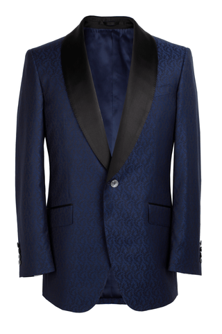 The Pierce Dinner Jacket - Marzoni Navy Floral Jacquard