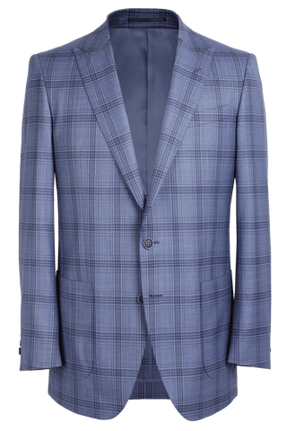 The Arnold Jacket - Cavanni Powder Blue and Taupe Triple Windowpane