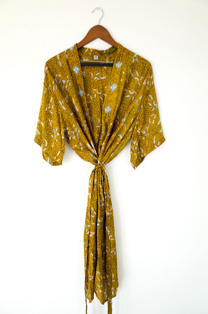 bali silk robe - liquid gold