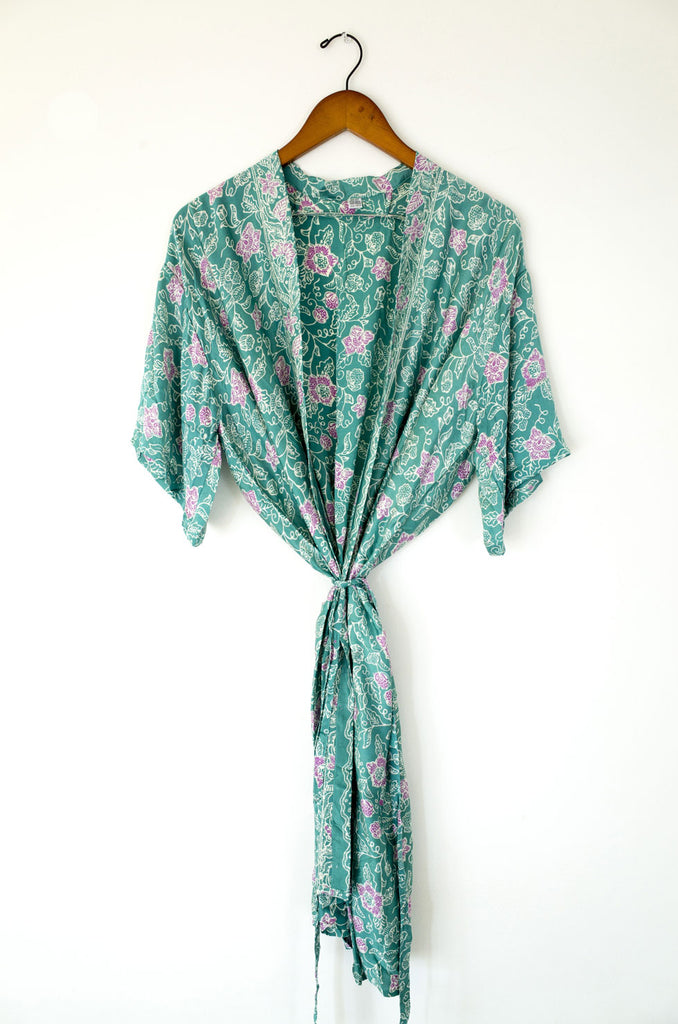 bali silk robe - tropical reef