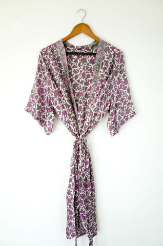 bali silk robe - rose quartz