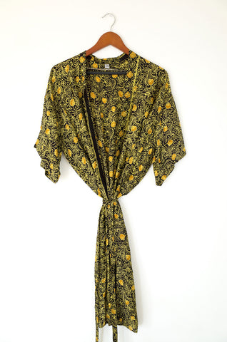 bali silk robe - french roast
