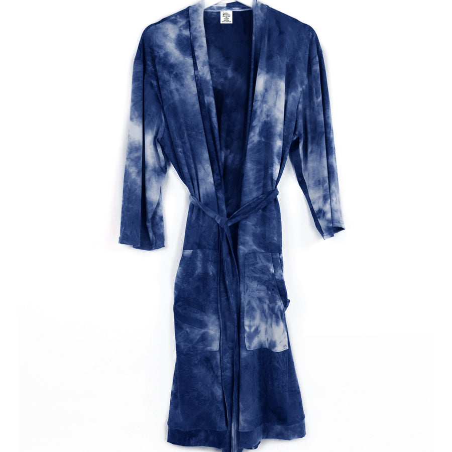 tie dye robe, pajamas, super soft, navy dark blue and white, hello mello