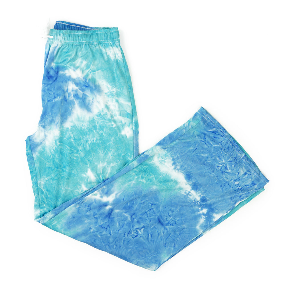 tie dye pants, pajamas, super soft, aqua light blue, hello mello