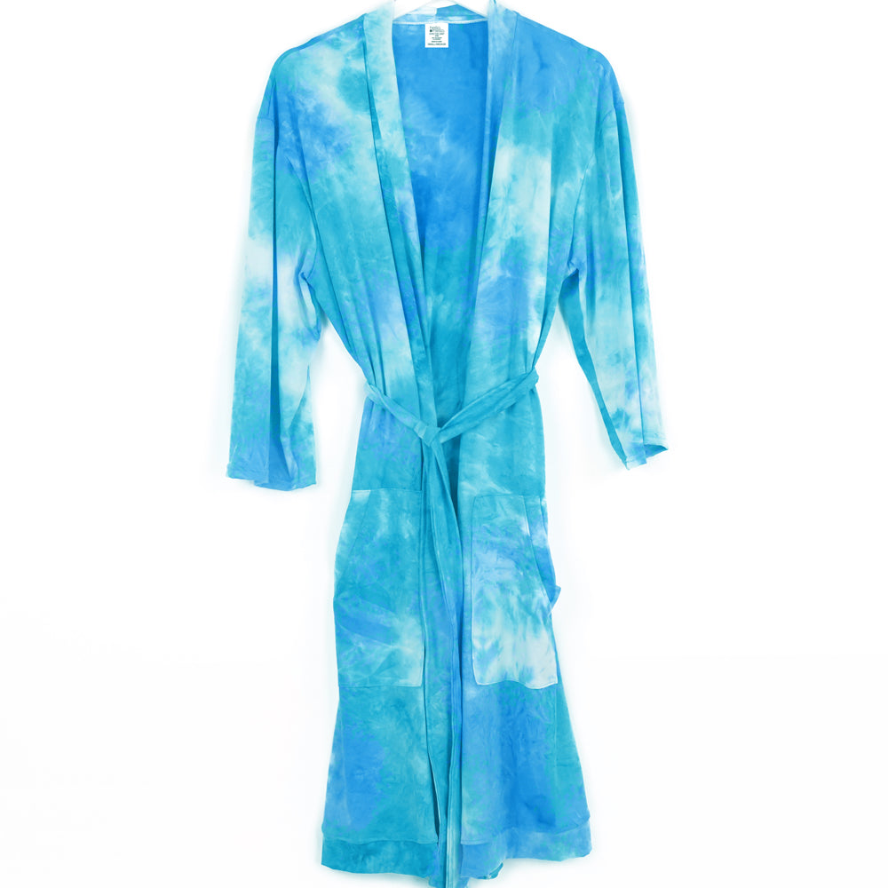 tie dye robe, pajamas, super soft, aqua light blue and white, hello mello
