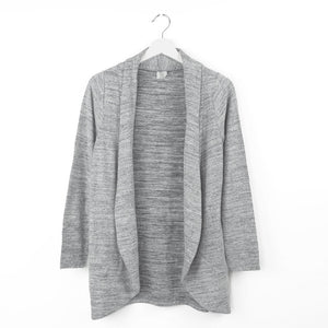 grey cardigan, soft design, wrinkle resistant, for lounging, traveling, every day wear, heather marled gray knit
