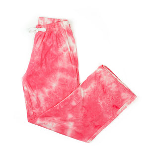 tie dye pants, pajamas, super soft, coral pink and white, hello mello