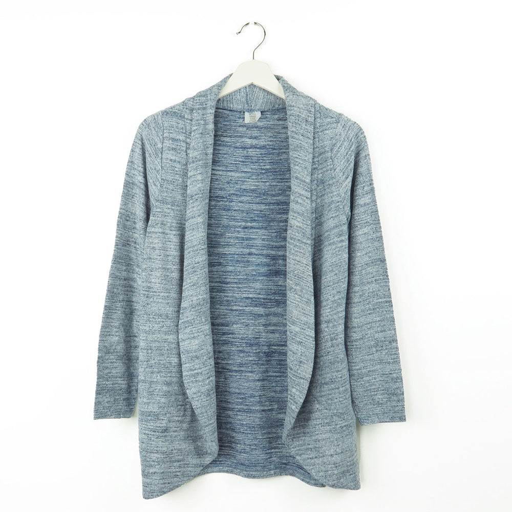 blue cardigan, soft design, wrinkle resistant, for lounging, traveling, every day wear, heather marled blue knit