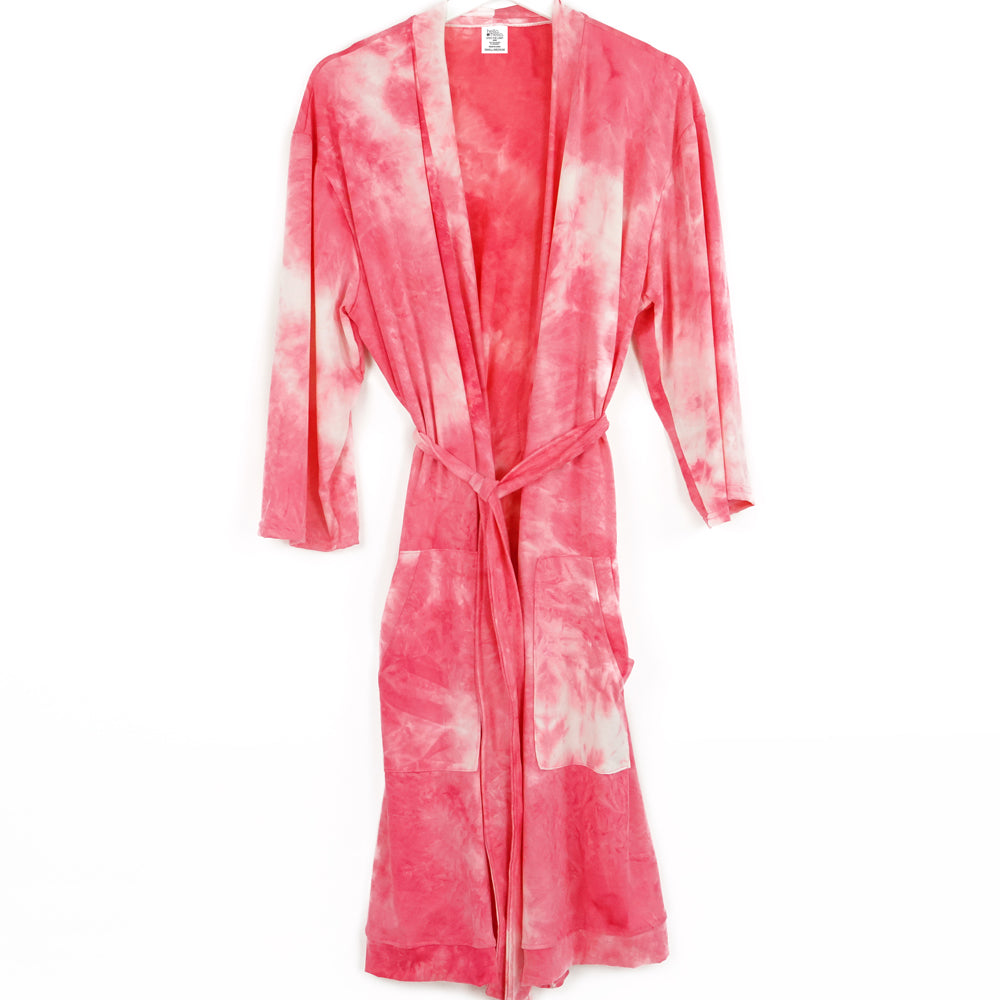 tie dye robe, pajamas, super soft, deep coral pink and white, hello mello