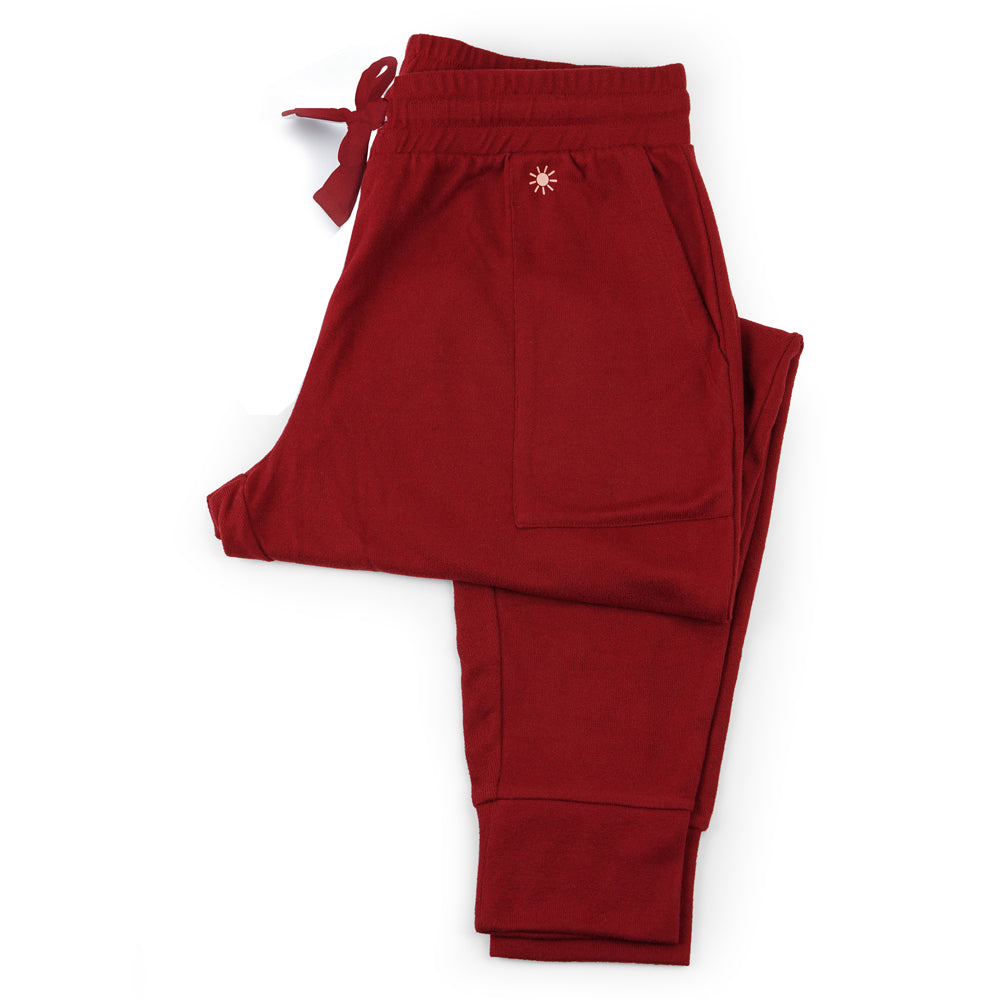 red clay jogger sweat pants, lounge pants pajama bottoms, super soft, dark red wine joggers, cuff at ankle