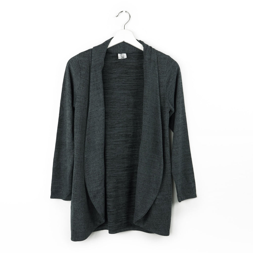 black cardigan, soft design, wrinkle resistant, for lounging, traveling, every day wear