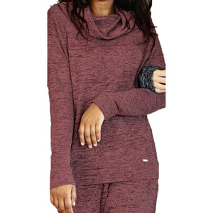 hello mello lounge top, comfy travel clothes, clay brown red loungewear