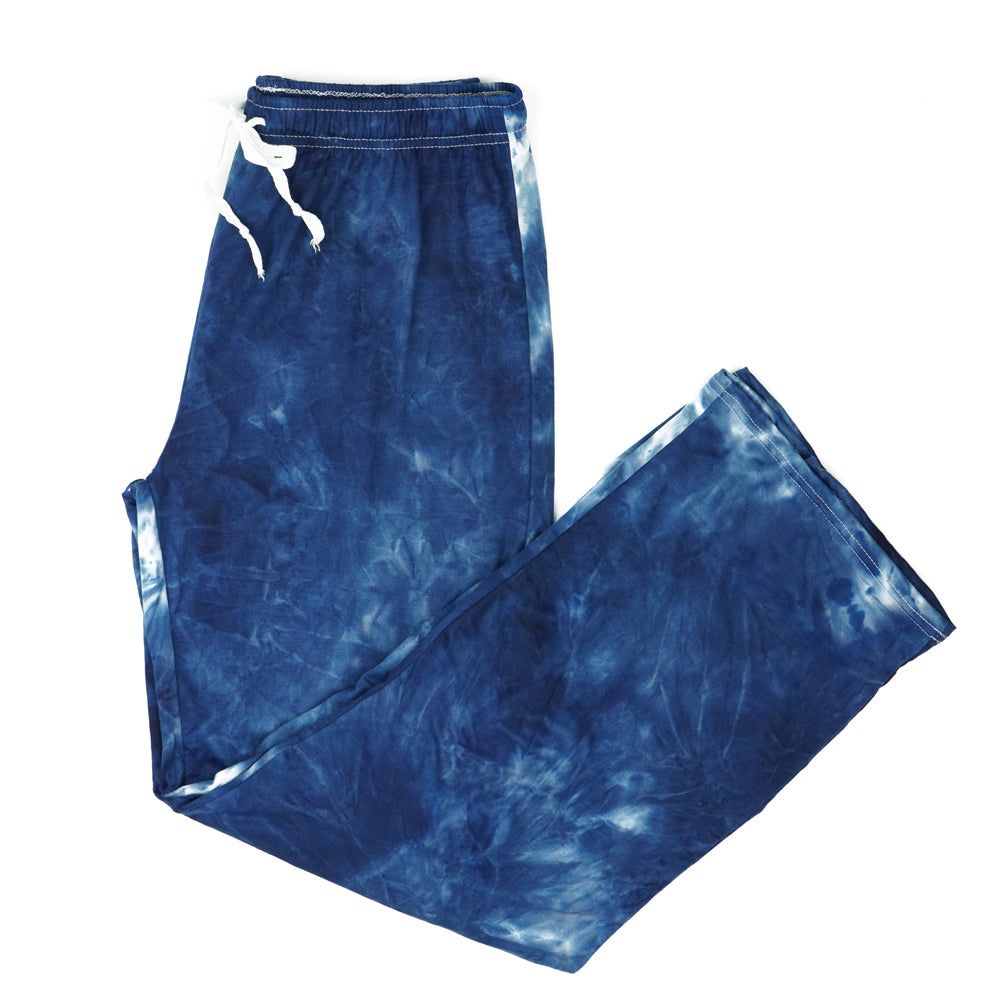 tie dye pants, pajamas, super soft, navy dark blue and white, hello mello