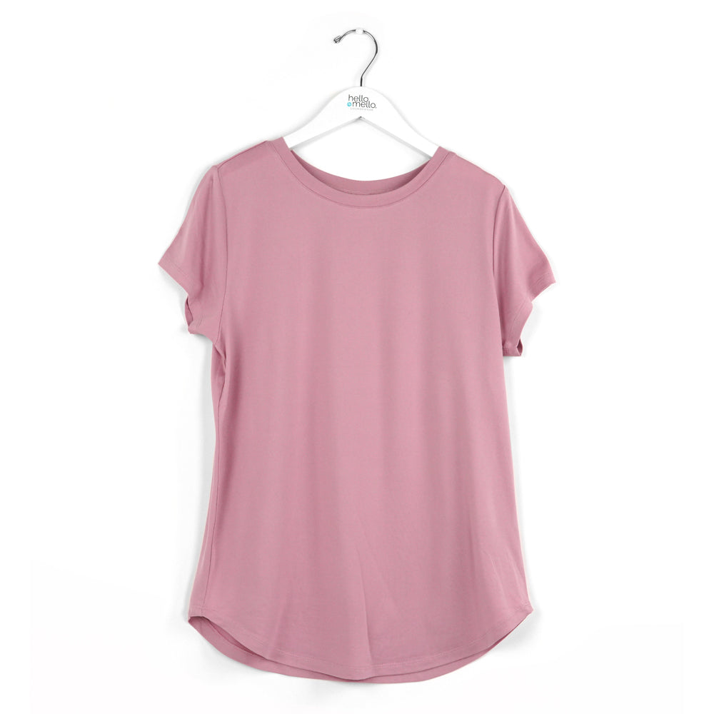 pink crewneck tee shirt, super soft lounge top, every day wear
