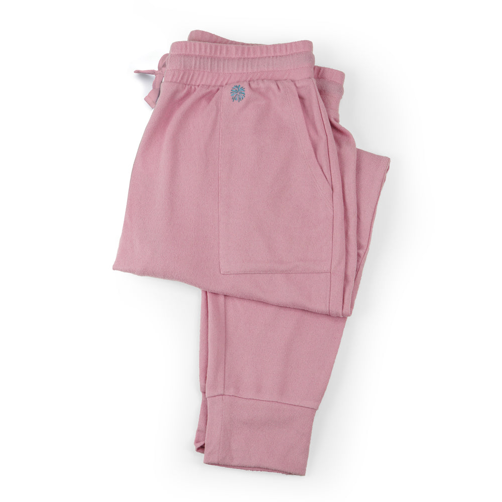 pink jogger sweat pants, lounge pants pajama bottoms, super soft, feminine baby pink joggers, cuff at ankle