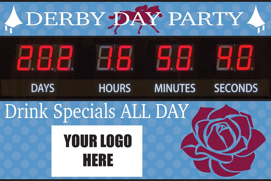 """Derby Day Party"" Graphic Combo for Countdown Clock (slot for logo)"