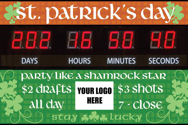 """St Patrick's Day"" Graphic Combo for Countdown Clock (slot for logo)"