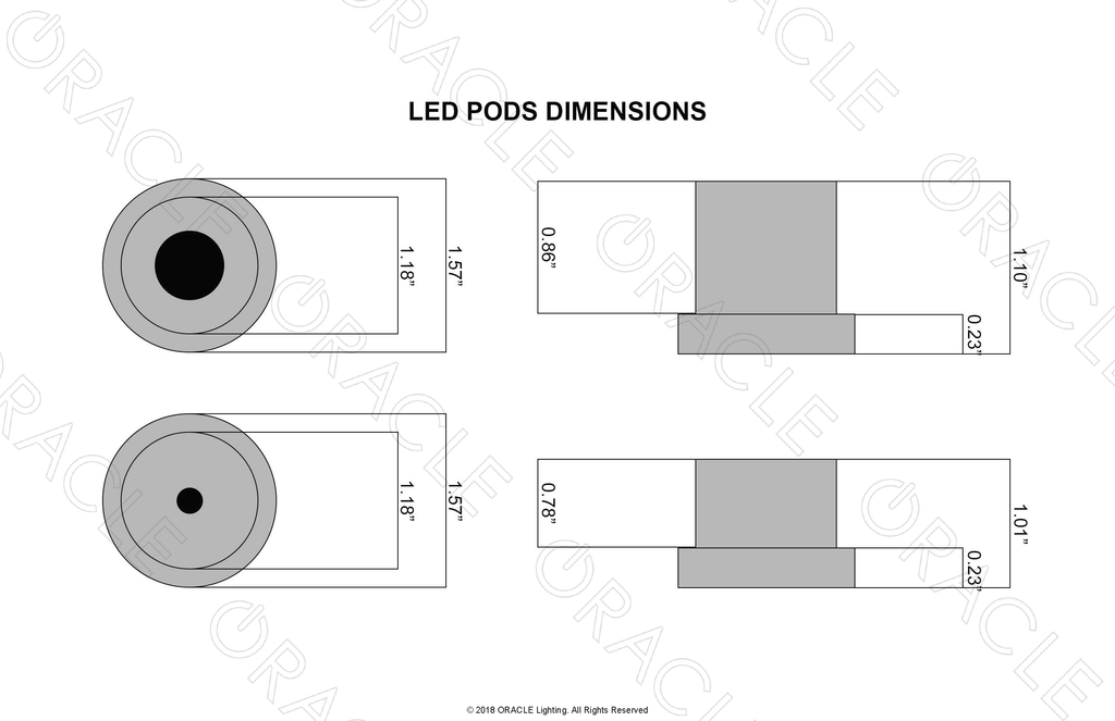 Oracle Lighting High Intensity LED Pods Dimension