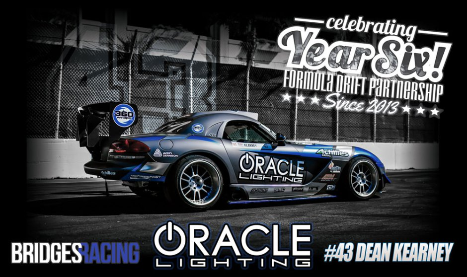 Promo image of auto halo lights company Oracle Lighting of Metairie, LA vehicle on a racetrack representing the 6th season of partnership with Dean Kearney as the title sponsor of the ORACLE Lighting Dodge Viper in the Formula Drift Series