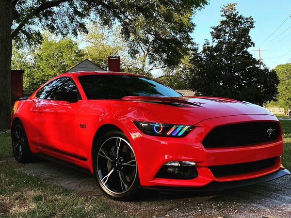 Red Ford Mustang with Oracle Lighting Dynamic ColorSHIFT halo lights