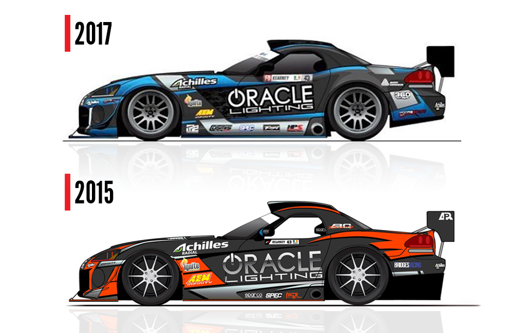 2015 and 2017 versions of racecars of commercial headlight restoration kit company Oracle Lighting in Metairie, LA