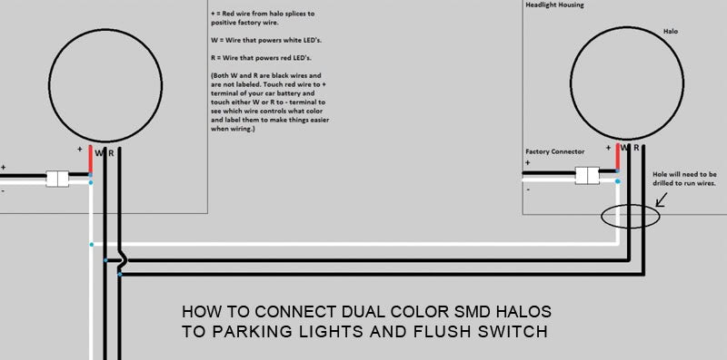 How to Connect Dual Color SMD Halos to Parking Lights and Flush Switch Diagram