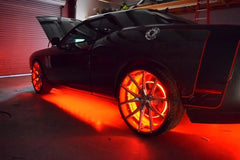 A car with LED wheel rings