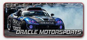 Race Car driving on a track labeled Oracle Motorsports representing Bridges Racing and Dean Kearney announcing their continuing partnership with vehicle lighting installation company Oracle Lighting in Metairie, LA for formula drift 2018