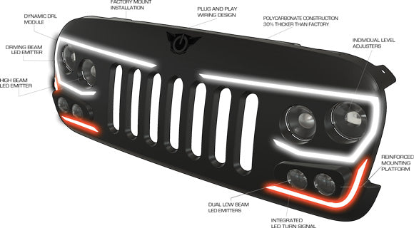 Oracle Lighting Vector Series Full Led Grill Jeep Wrangler Jk. Fitment 200717 Jeep Wrangler Jk Construction Polycarbonate Durability Impact Rated Shell Installation Factory Mounts Fully Equipped W Led. Jeep. Jeep Led Turn Signal Wiring At Scoala.co