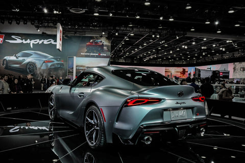 2020 Toyota Supra being shown off at an automotive show