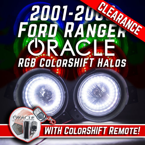 2001-03 FORD Ranger Fog Lights - ORACLE RGB ColorSHIFT Halo Kit + Remote