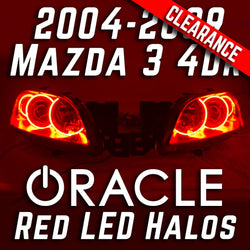 2004-2009 Mazda 3 4 Door Projector Headlights - ORACLE Red LED Halos