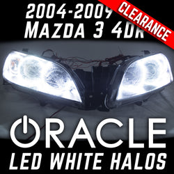 2004-2009 Mazda 3 4 Door Projector Headlights - ORACLE WHITE LED Halos
