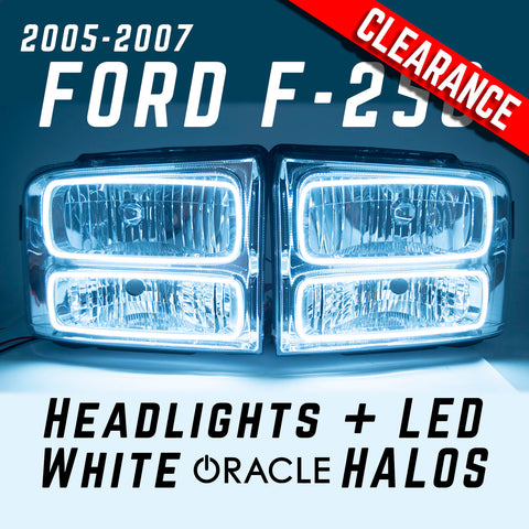2005-2007 Ford F-250 Superduty Headlights- ORACLE White LED SMD Halo Kit
