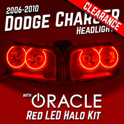 2006-2010 Dodge Charger Headlights - ORACLE Red LED Halo Kit Pre-Installed