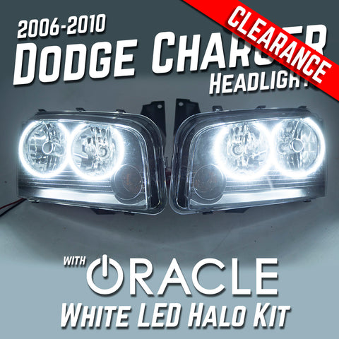 2006-2010 Dodge Charger Headlights - ORACLE White LED Halo Kit Pre-Installed