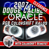 2007-2011 Dodge Caliber Headlights w/ ORACLE RGB ColorSHIFT LED Halos + Remote