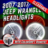 2007-16 Jeep Wrangler Headlights - ORACLE ColorSHIFT RGB Halo Kit + 1.0 Remote
