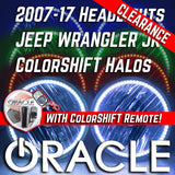 2007-16 Jeep Wrangler JK Headlights - ORACLE ColorSHIFT RGB Halo Kit + 1.0 Remote