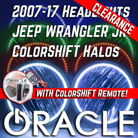 2007-17 Jeep Wrangler JK Headlights - ORACLE ColorSHIFT RGB Halo Kit + 1.0 Remote