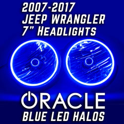 2007-2017 Jeep Wrangler Headlights Pair with ORACLE HALO KIT BLUE