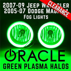 2007-09 Jeep Wrangler/2005-07 Magnum Fog Lights - ORACLE Green Plasma Halos