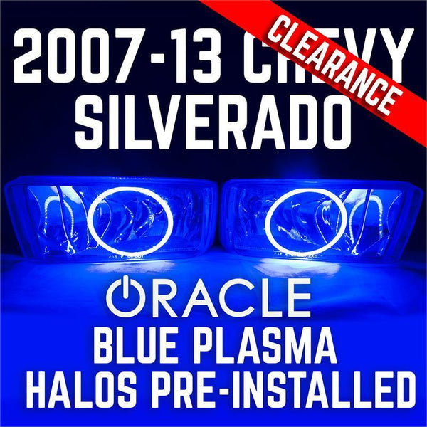 2007-15 Chevy Silverado Fog Lights - ORACLE Blue Plasma Halos Pre-Installed - CLEARANCE