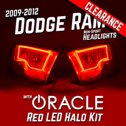 2009-2012 Dodge Ram Non-Sport Headlights - ORACLE Red LED Halo Kit Pre-Installed