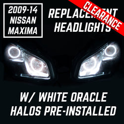 2009-2014 Nissan Maxima Headlights - ORACLE WHITE LED Halo Kit + Tinted Lenses