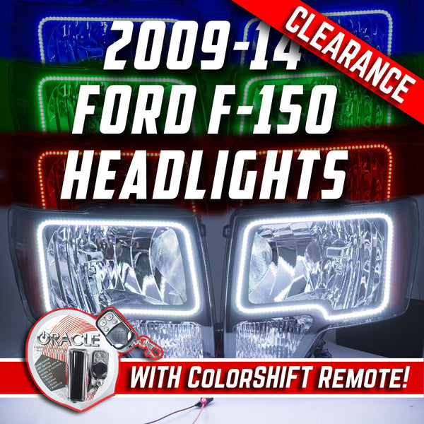 2009-14 Ford F-150 Headlights with ORACLE RGB ColorSHIFT Halos + RGB 1.0 Remote