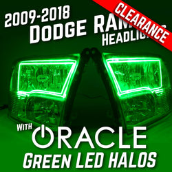 2009-2018 Dodge Ram 1500 Headlights - ORACLE Green LED Halo Kit Pre-Installed