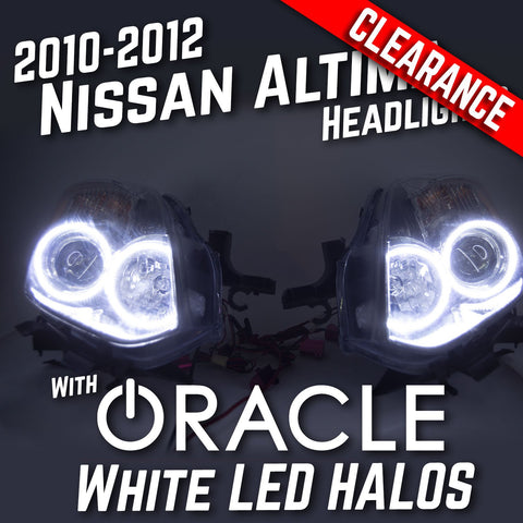 2010-2012 Nissan Altima Headlights - ORACLE WHITE LED Halo Kit