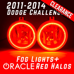 2011 2012 2013 2014 Dodge Challenger Fog Lights - ORACLE Red LED Halo Kit